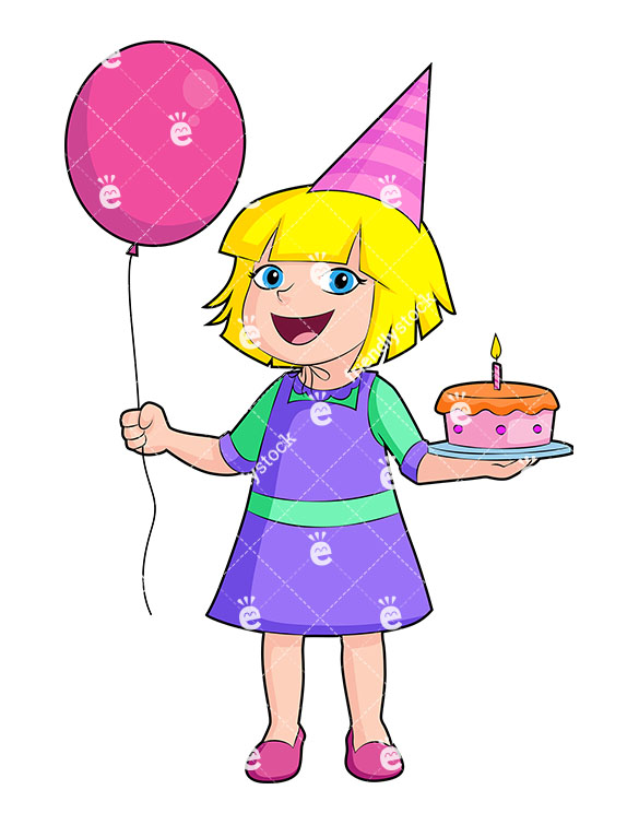 585x755 Happy Birthday Girl Holding Cake And Balloons Vector Clipart