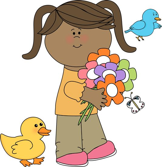 534x550 Girl With Flowers And Birds 5 Spring Clip Art Kids Truly Hand Picked