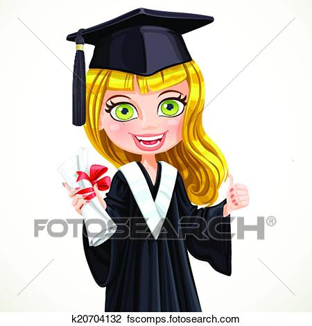 450x470 Clipart Of Blond Girl In Cap And Gown Graduate Holding A Scroll