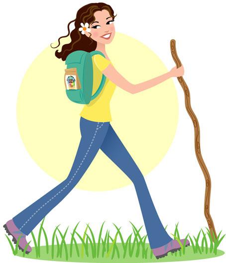 454x530 Girl Hiking Clipart