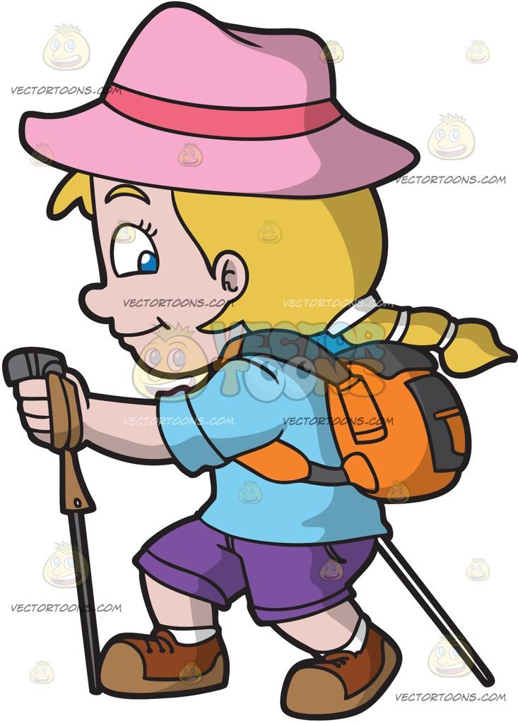 733x1024 A Happy Girl Hiking Up A Trail Cartoon Clipart