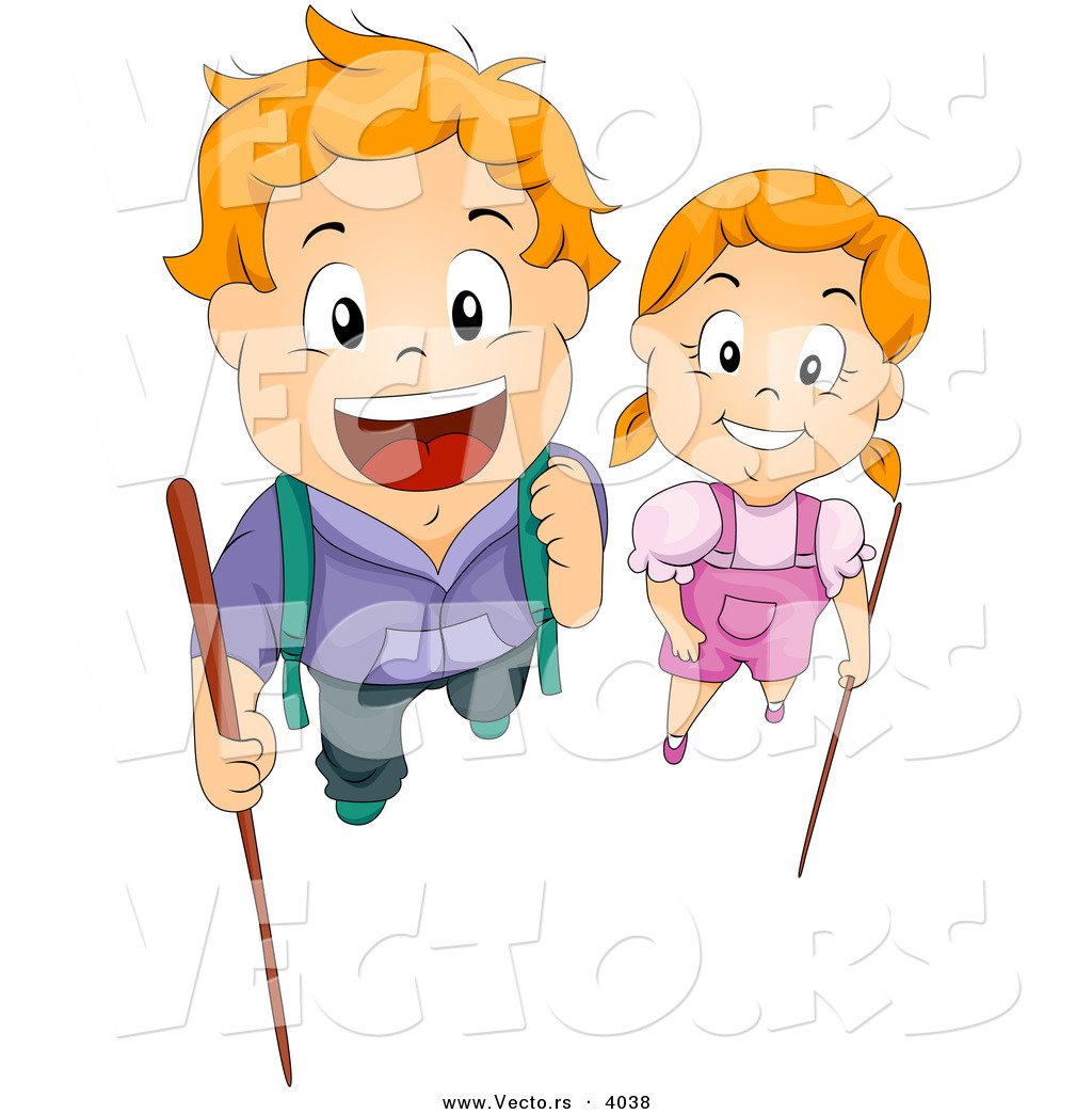 1024x1044 Cartoon Vector Of Happy Boy And Girl With Hiking Sticks By Bnp