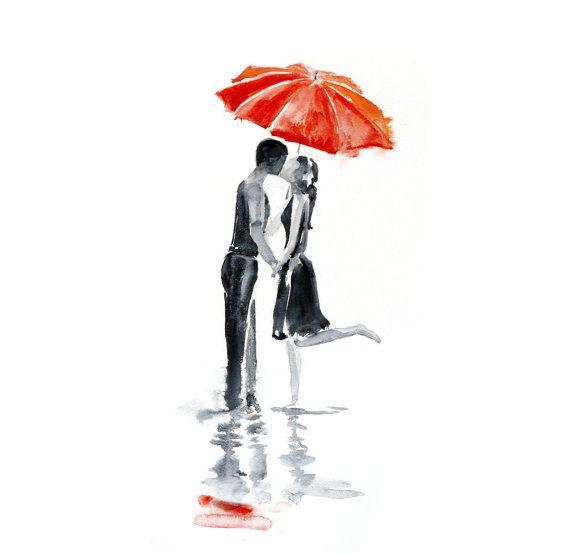 Girl Holding Umbrella Drawing