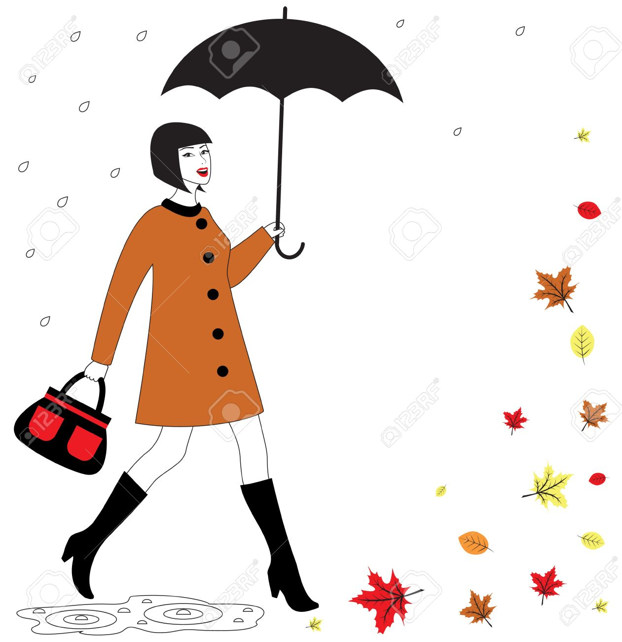 1261x1300 Fashionable Beautiful Happy Woman With Umbrella Walking In