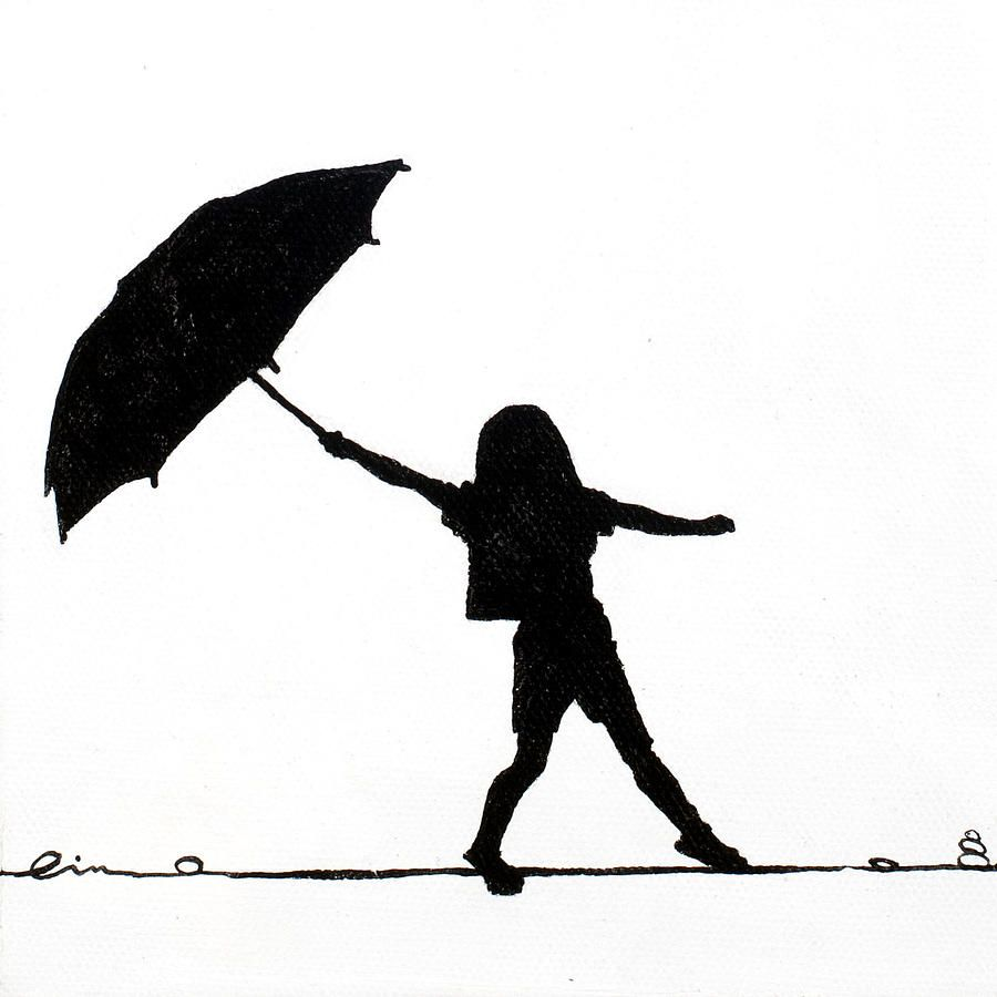 900x900 Girl Holding Umbrella Silhouette Little Girls On Little Canvas