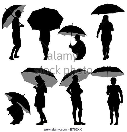 520x540 Illustration Silhouette Girl Holding Umbrella Stock Photos