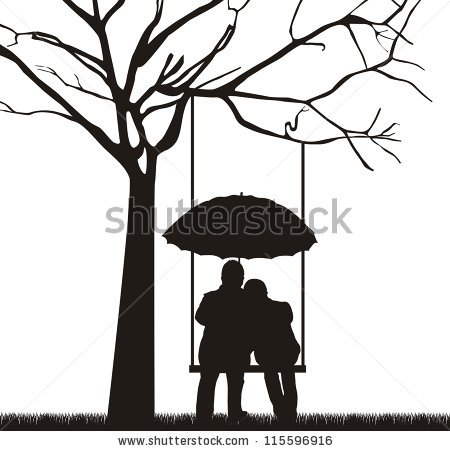 450x451 Couple Under Tree With Umbrella, White Background. Vector By Gst