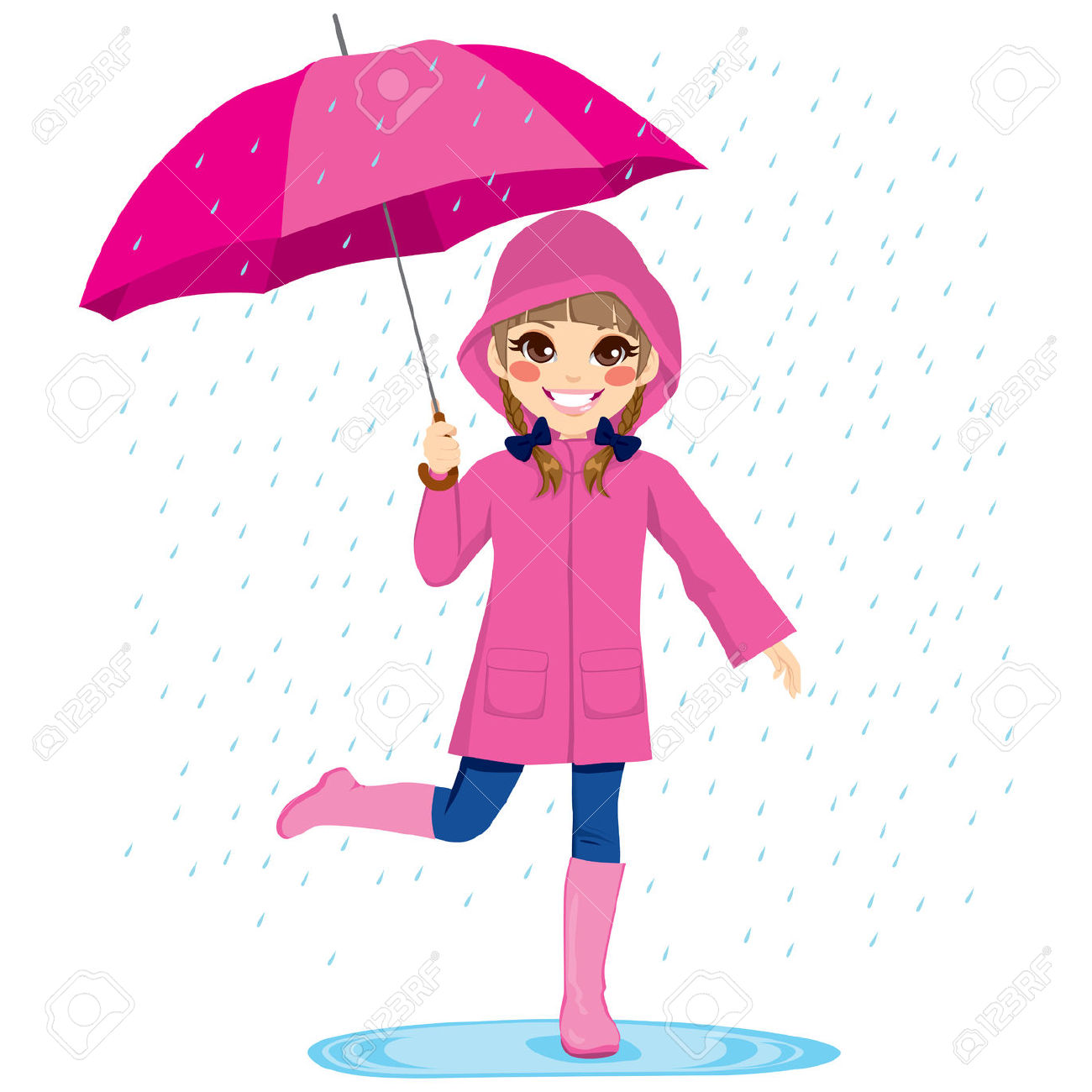 1300x1300 Little Girl Playing In Rain Clipart