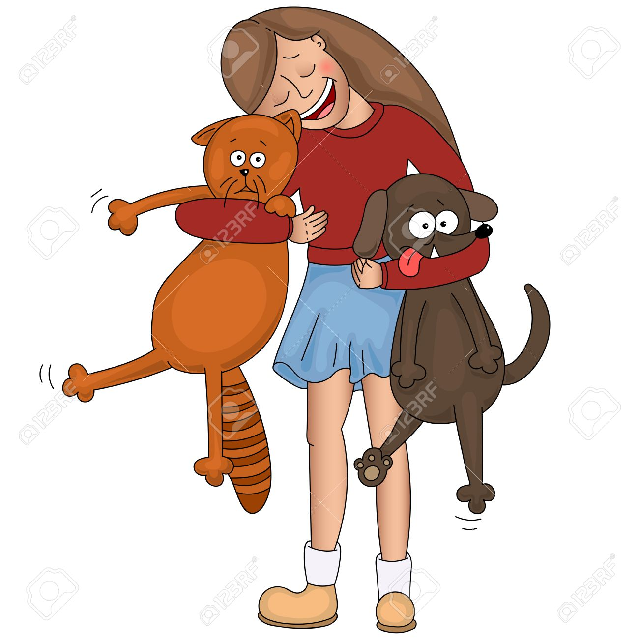 1300x1300 Happy Little Girl Hugging Her Cat And Strong Dog Royalty Free