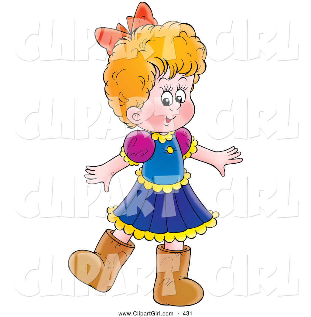 1024x1044 Clip Art Of A Little Girl In A Dress And Brown Boots, On White By