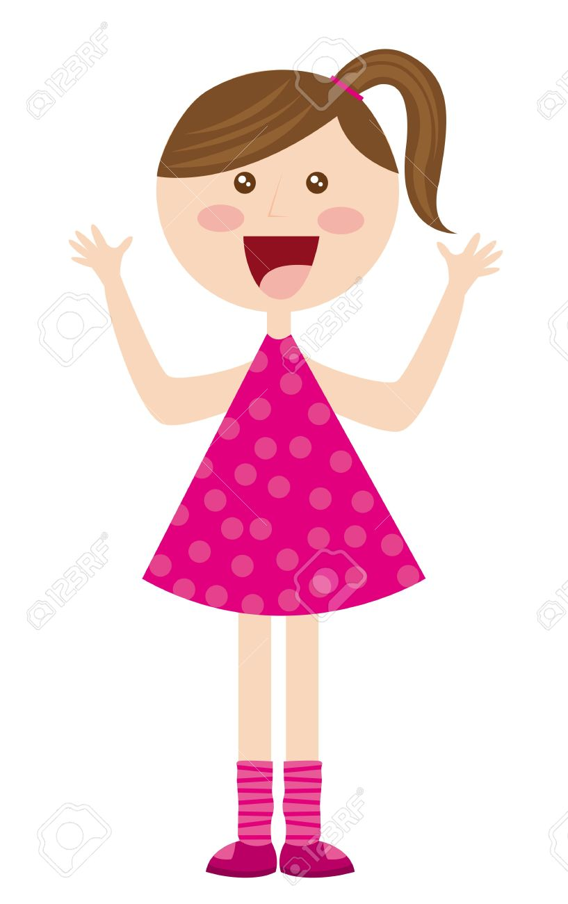 817x1300 Pink Dress Clipart Gril