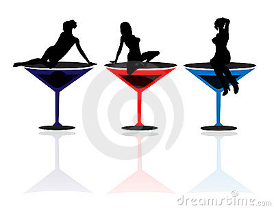 400x306 Girl In Martini Glass Clipart