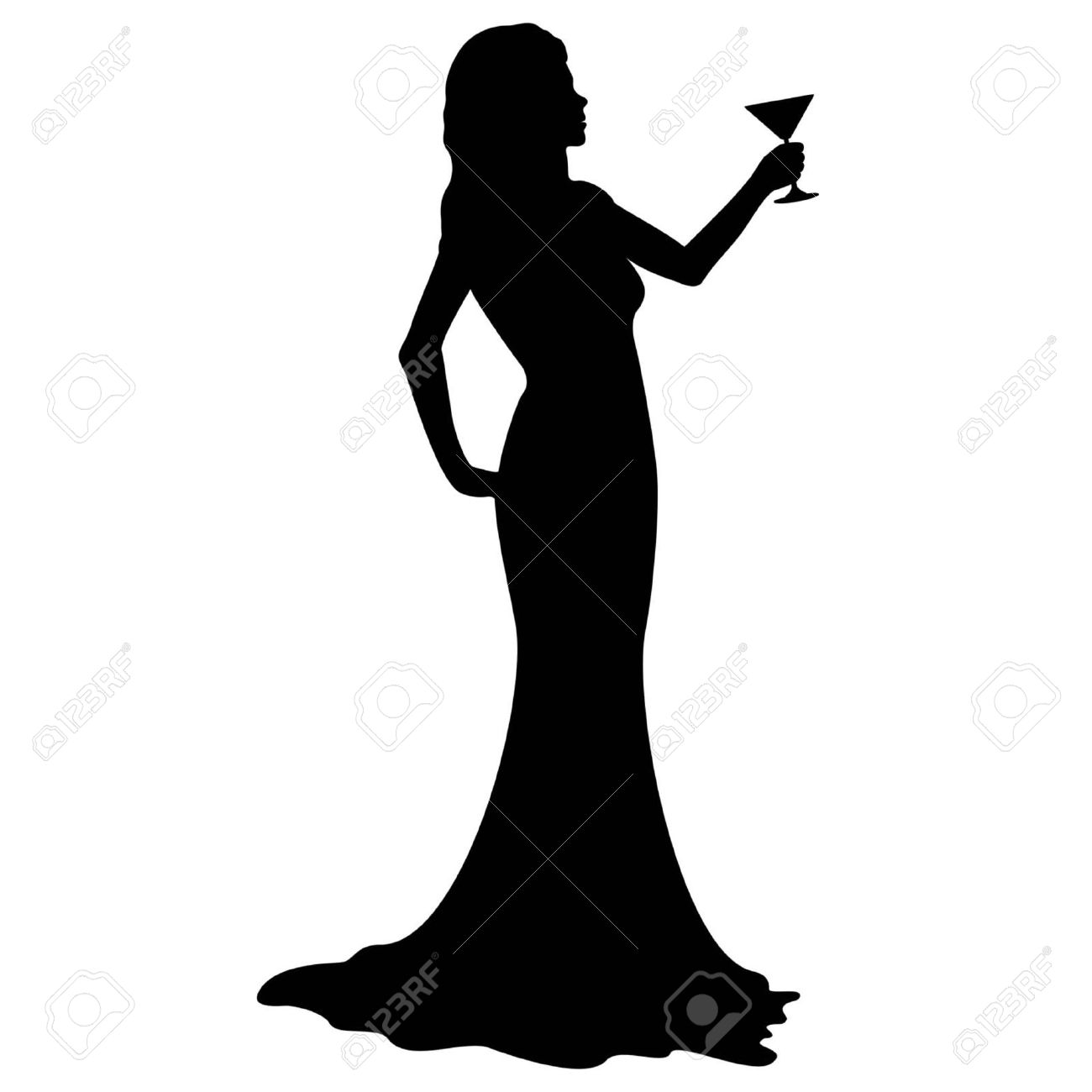 1300x1300 Illustration Silhouette Of A Woman In An Evening Dress, Holding