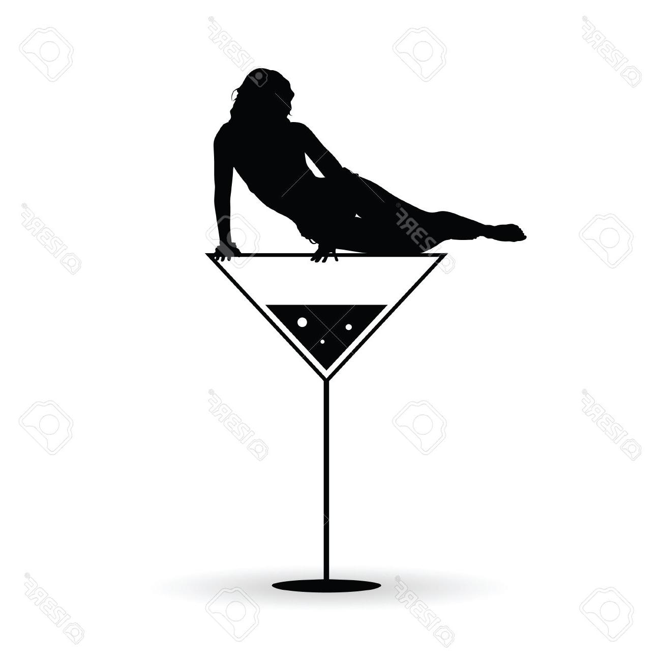 1300x1300 Best Free Girl On Martini Black Vector Silhouette Illustration