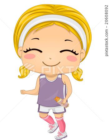 350x450 Smiling Kid Girl Jogging Water Bottle