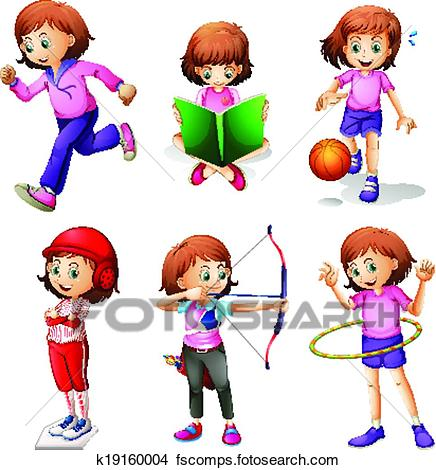436x470 Clipart Of A Young Girl Doing Different Activities K19160004