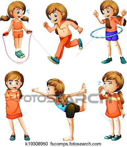 406x470 Clipart Of A Young Girl Doing Her Daily Routine K19308950