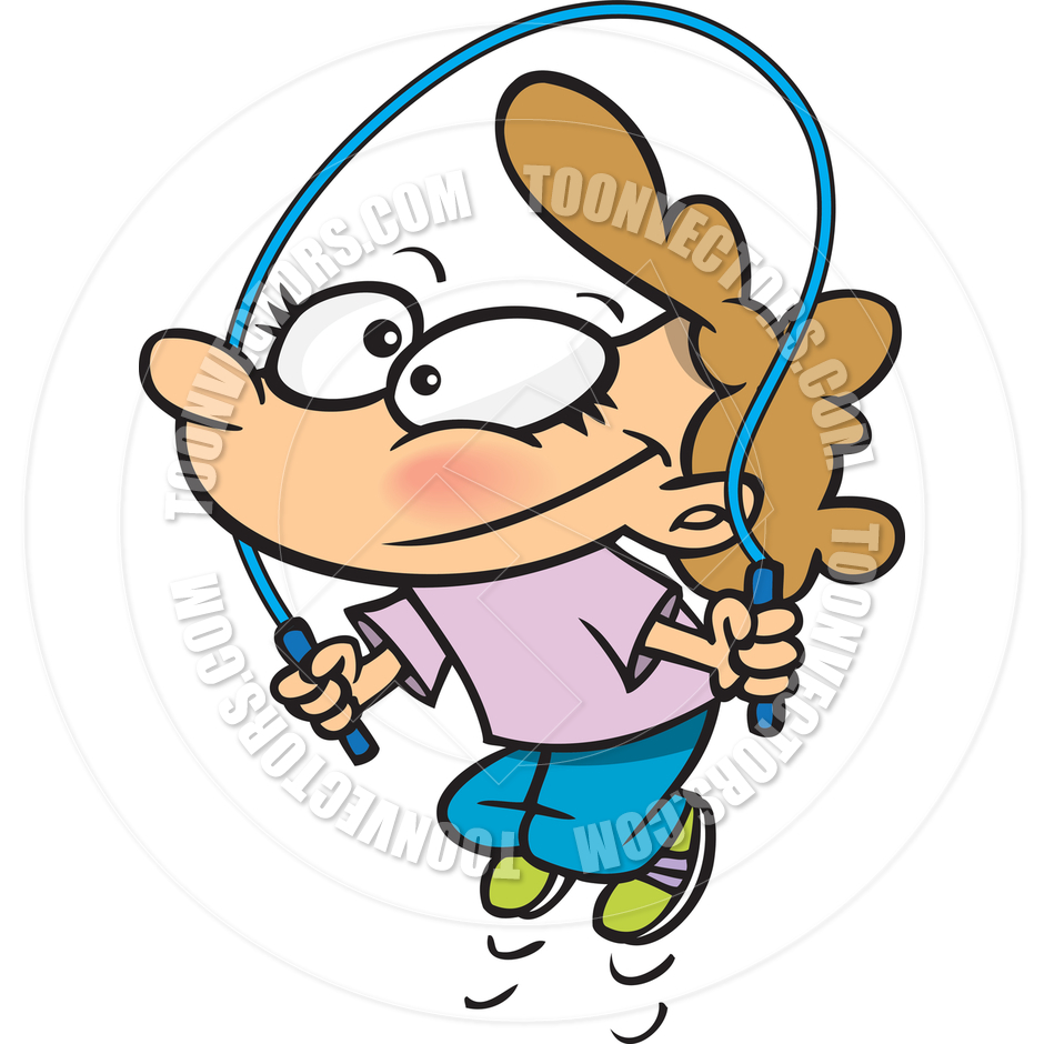 940x940 Cartoon Girl Jumping Rope By Ron Leishman Toon Vectors Eps