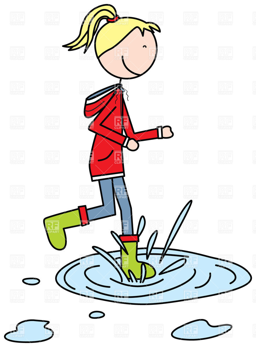 886x1200 Cartoon Girl Jumping To A Puddle Royalty Free Vector Clip Art