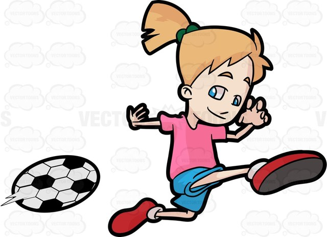 Girl Kicking Soccer Ball Clipart