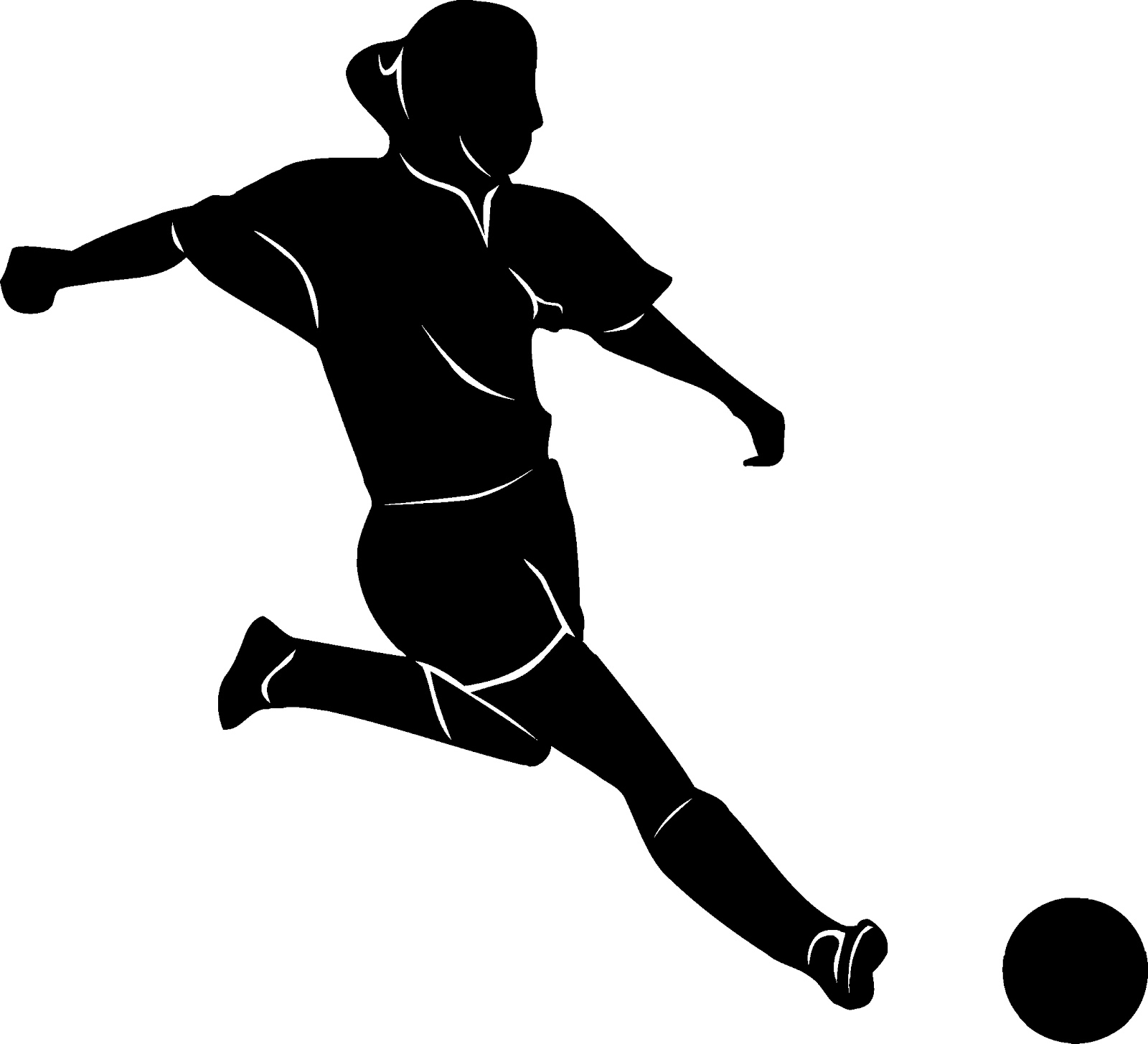 1600x1455 Girl soccer player black and white clipart