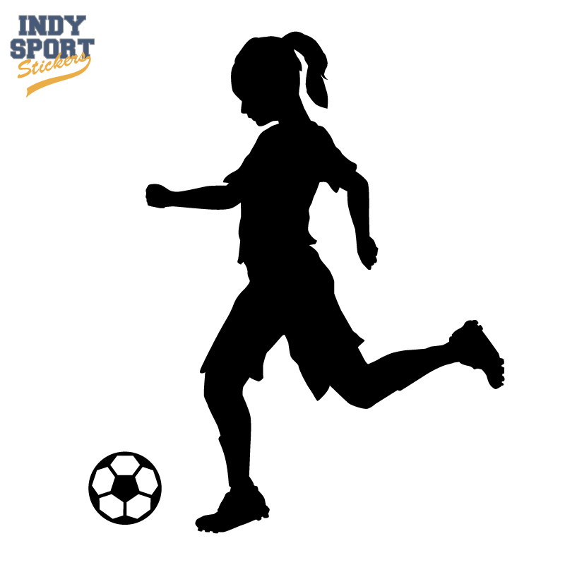 800x800 Soccer Player Girl Silhouette Kicking Ball Decal or Sticker for