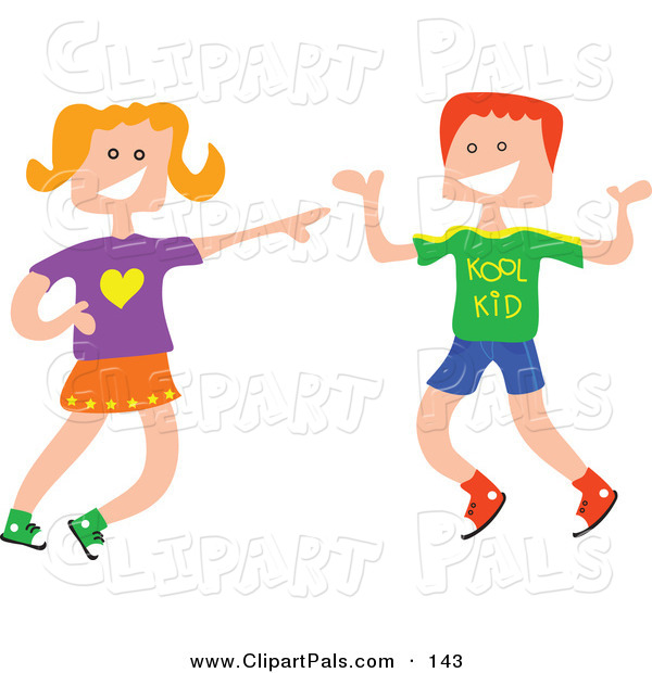 600x620 Pal Clipart Of A Square Head Boy And Girl Laughing Together By