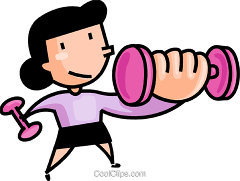 480x362 Girl Lifting Weights Royalty Free Vector Clip Art Illustration