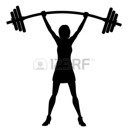 450x450 Silhouette Lifting Weights Clipart