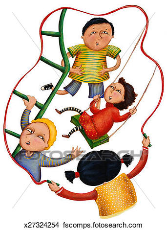 342x470 Drawings Of Children Playing Girl With Jump Rope Encircling Boy