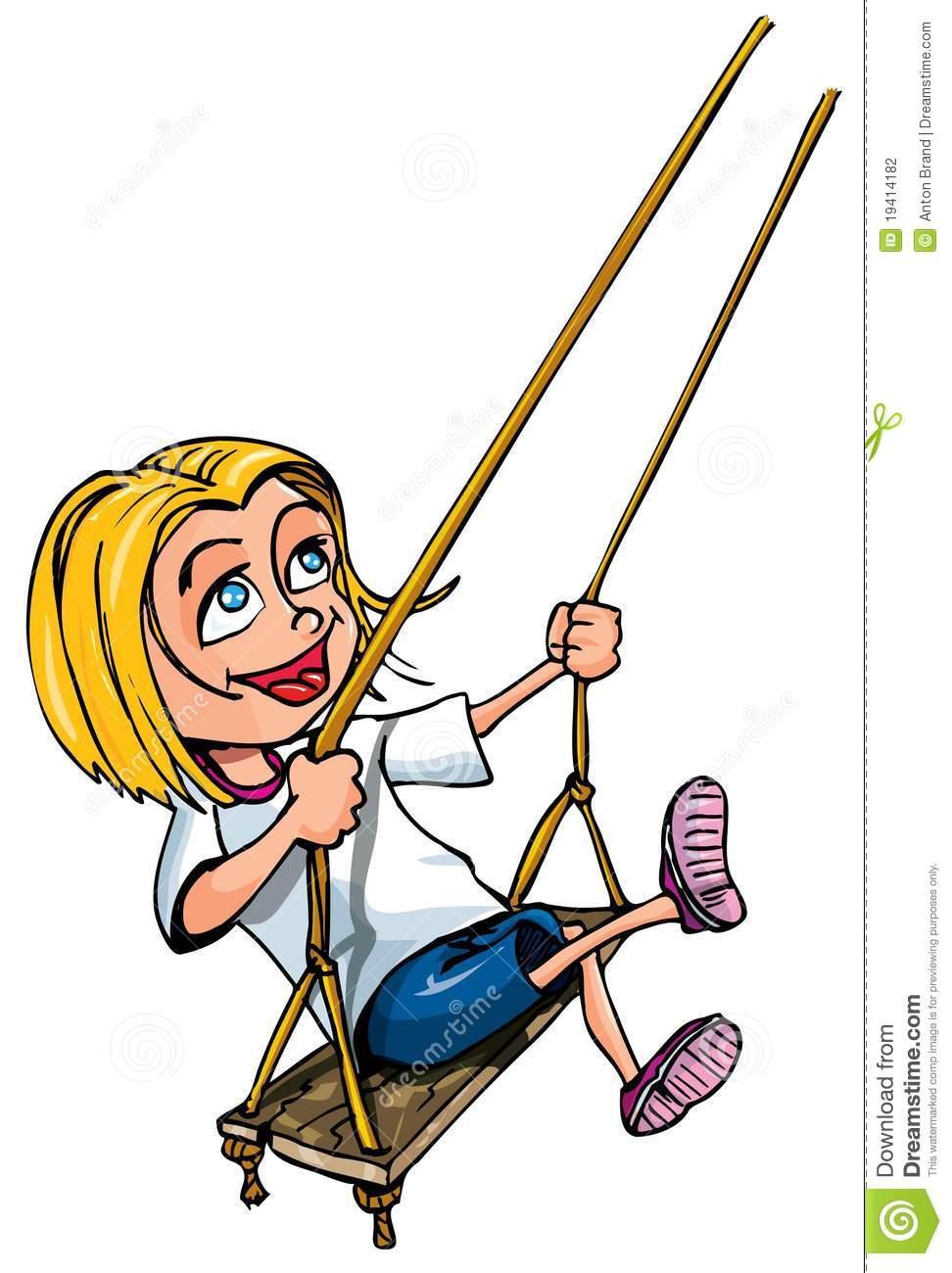 972x1300 Girl On Swing Clipart