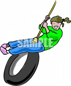 246x300 Girl Swinging On A Tire Swing Clip Art Image