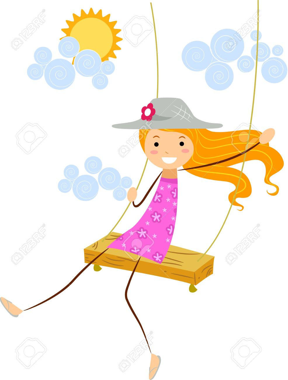 986x1300 Girl On Swing Cliparts