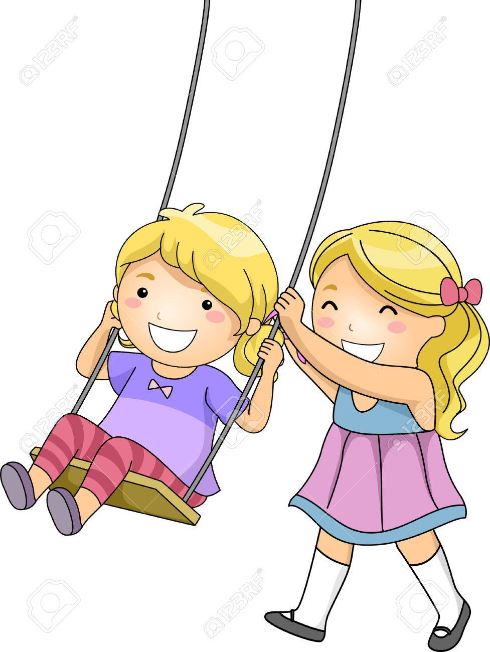 977x1300 Illustration Of A Little Girl Pushing Her Sister On A Swing Stock