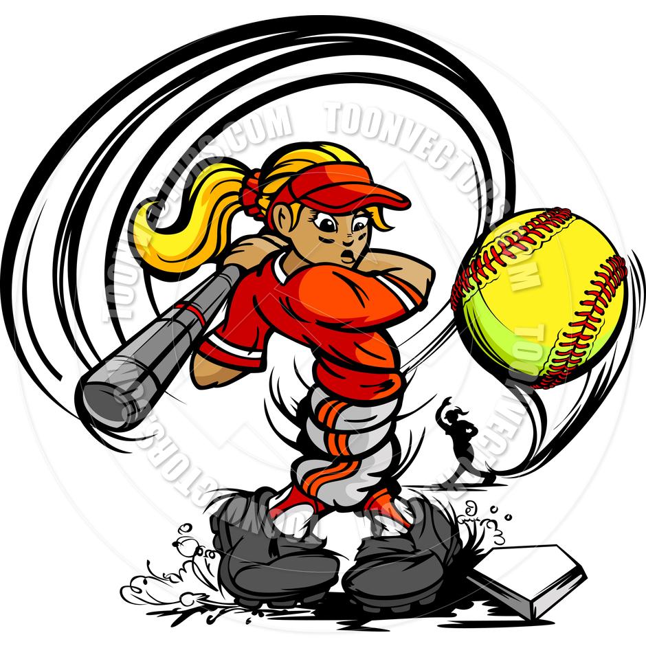 940x940 Kid Softball Player Girl Swing Bat