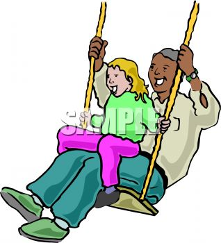 318x350 Little Girl And Her Dad On A Swing