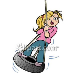 300x291 On A Tire Swing Royalty Free Clipart Picture