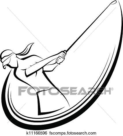 426x470 Clip Art Of Golf Swing Girl Golfer K11166596