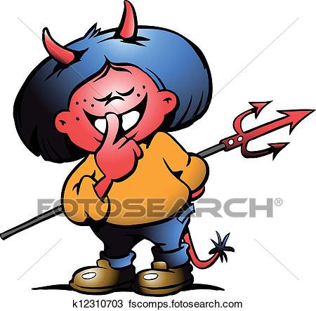 450x443 Clipart Of Cute Devil Girl K12310703