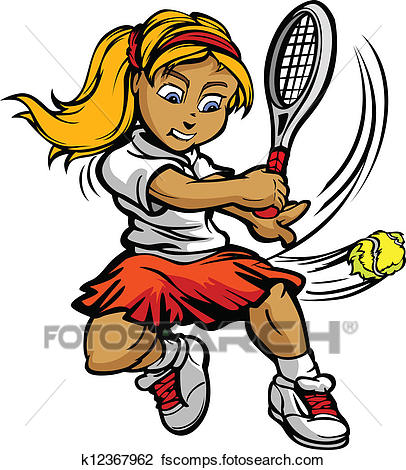 406x470 Clipart Of Kid Tennis Player Girl Swinging Racquet