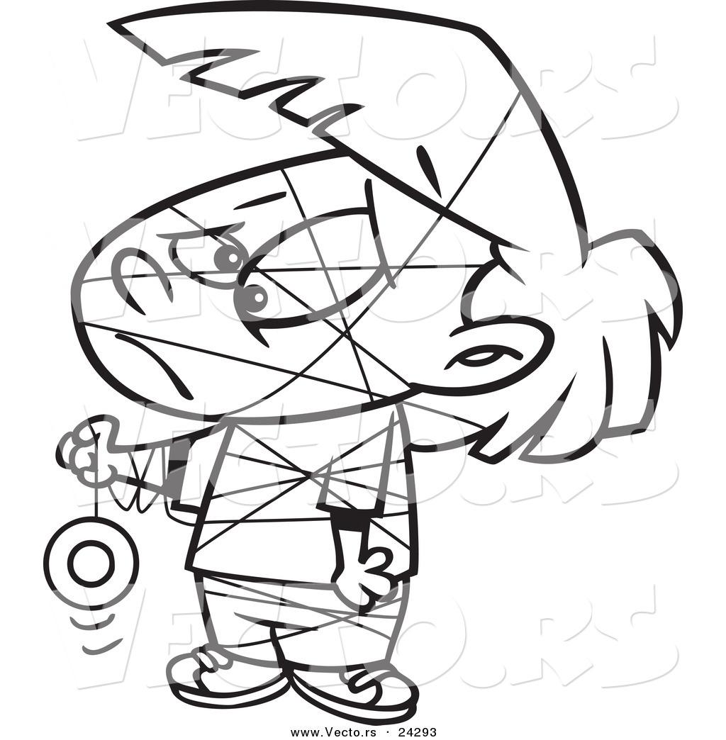 1024x1044 Vector Of A Cartoon Girl Tangled In Her Yo Yo String Black