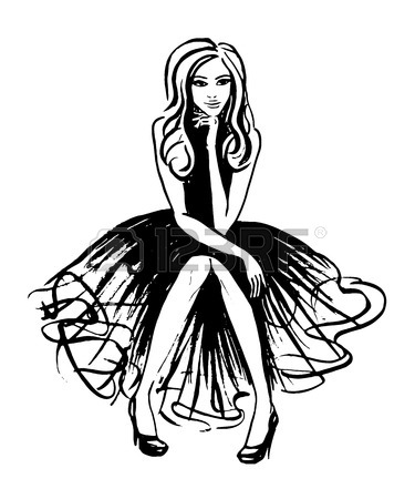 375x450 Fashion Illustration Of Sitting And Thinking Woman In Evening