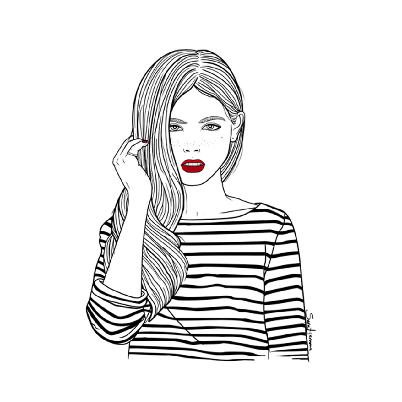 Girl Outline Drawing Free Download Best Girl Outline Drawing On