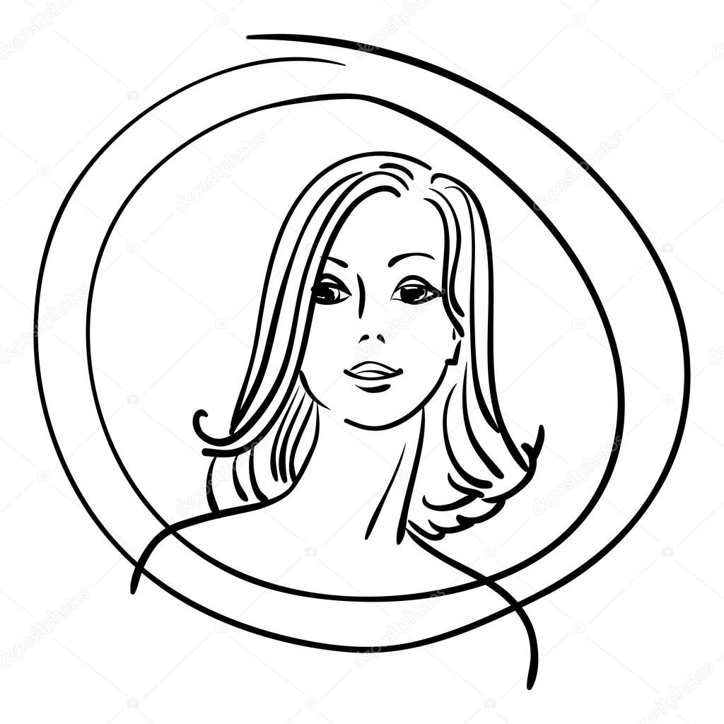 1024x1024 Pretty Face Girl Outline Drawing. Stock Vector Tanyaplyshka