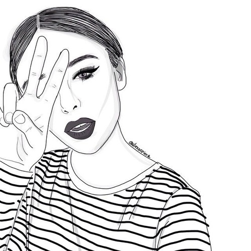 500x500 Drawing, Girl, Outline, Outlines, Tumblr Girl