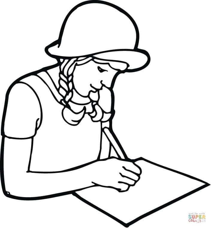 708x762 A Girl Student Writing On Paper Coloring Page Free Printable