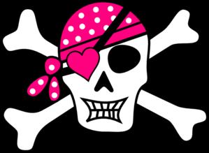 299x219 Pink Pirate Cross Bones Clip Art