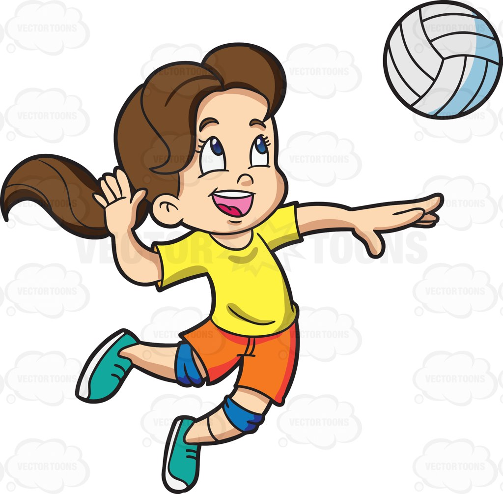 1024x1005 A Girl Playing Badminton Cartoon Clipart