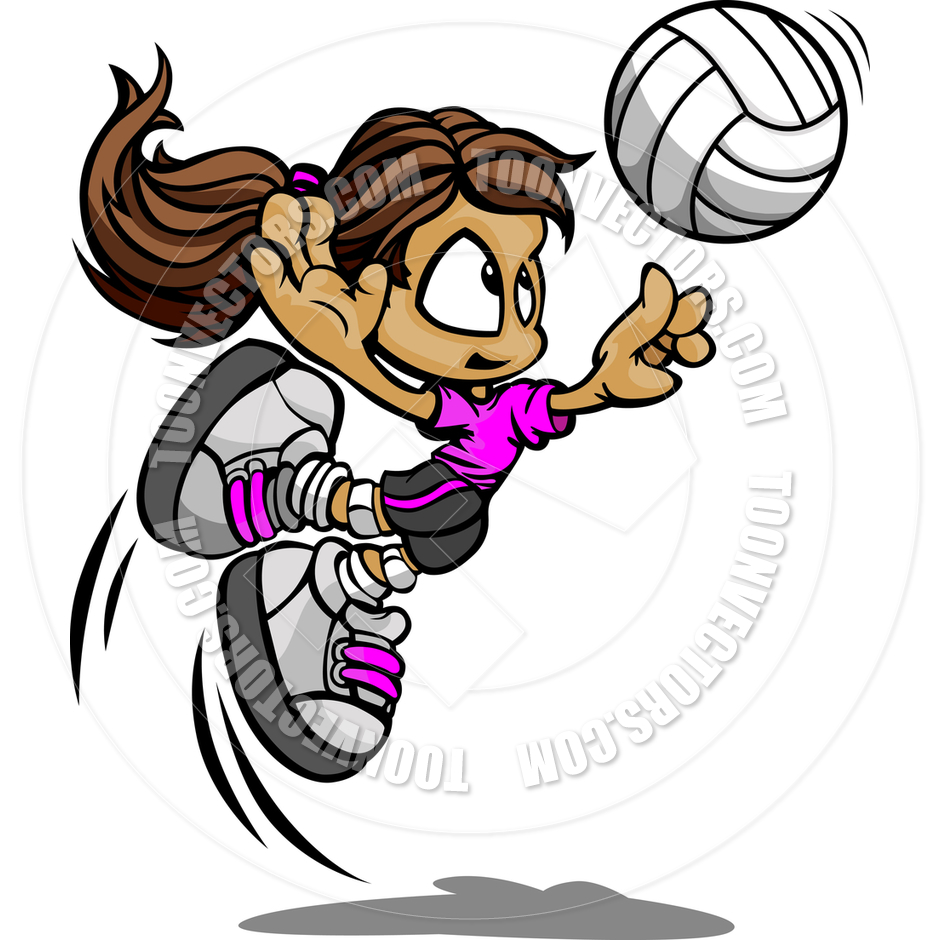 940x940 Kid Volleyball Player Girl Spiking Ball By Chromaco Toon Vectors