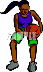 180x300 Art Image A Girl Playing Basketball